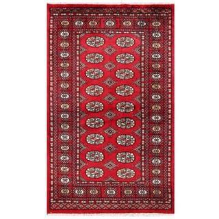 Herat Oriental Pakistani Hand-knotted Tribal Bokhara Red/ Black Wool Rug (3'1 x 5'1)