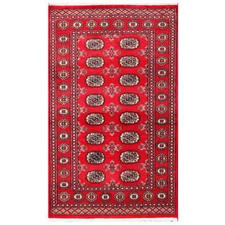 Herat Oriental Pakistani Hand-knotted Tribal Bokhara Red/ Black Wool Rug (3' x 5'1)