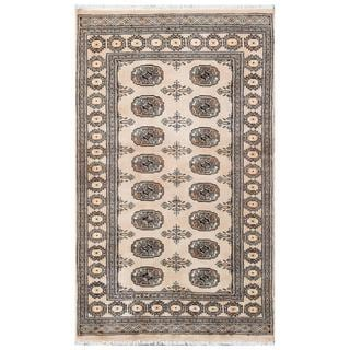 Herat Oriental Pakistani Hand-knotted Tribal Bokhara Tan/ Black Wool Rug (3'1 x 5'1)