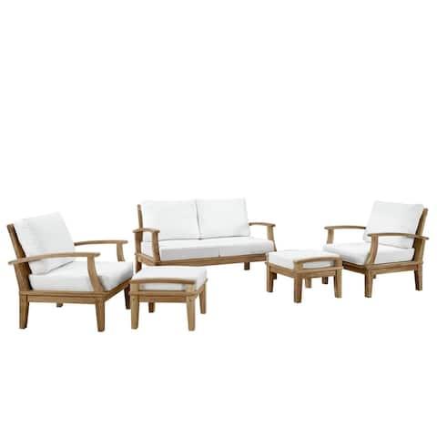 Pier 5-piece Outdoor Patio Teak Wood Sofa Set