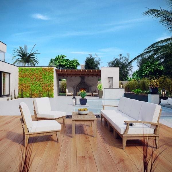 Superieur Pier 7 Piece Outdoor Patio Teak Construction Sofa Set