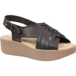 Women's Bass Sadie Platform Sandal Black Leather