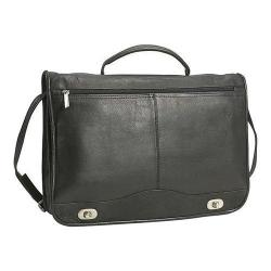 Men's David King Leather 122 Full Flap Turnlock Briefcase Black