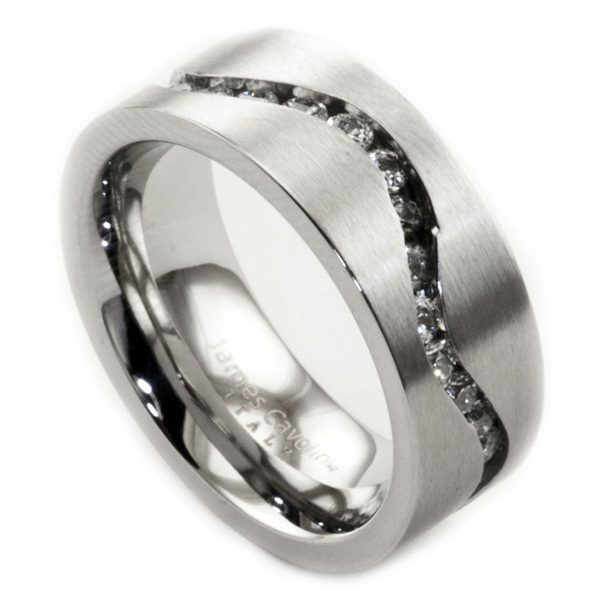 James Cavolini Stainless Steel and Cubic Zirconia Channel Set Wavy Ring