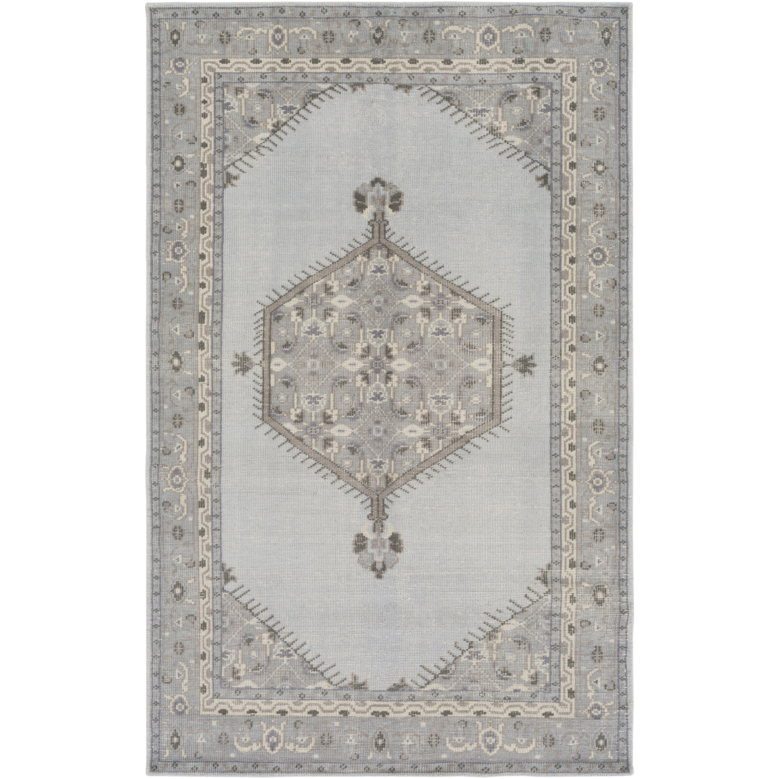 Hand-Knotted Loddon Border Wool Rug (2' x 3')