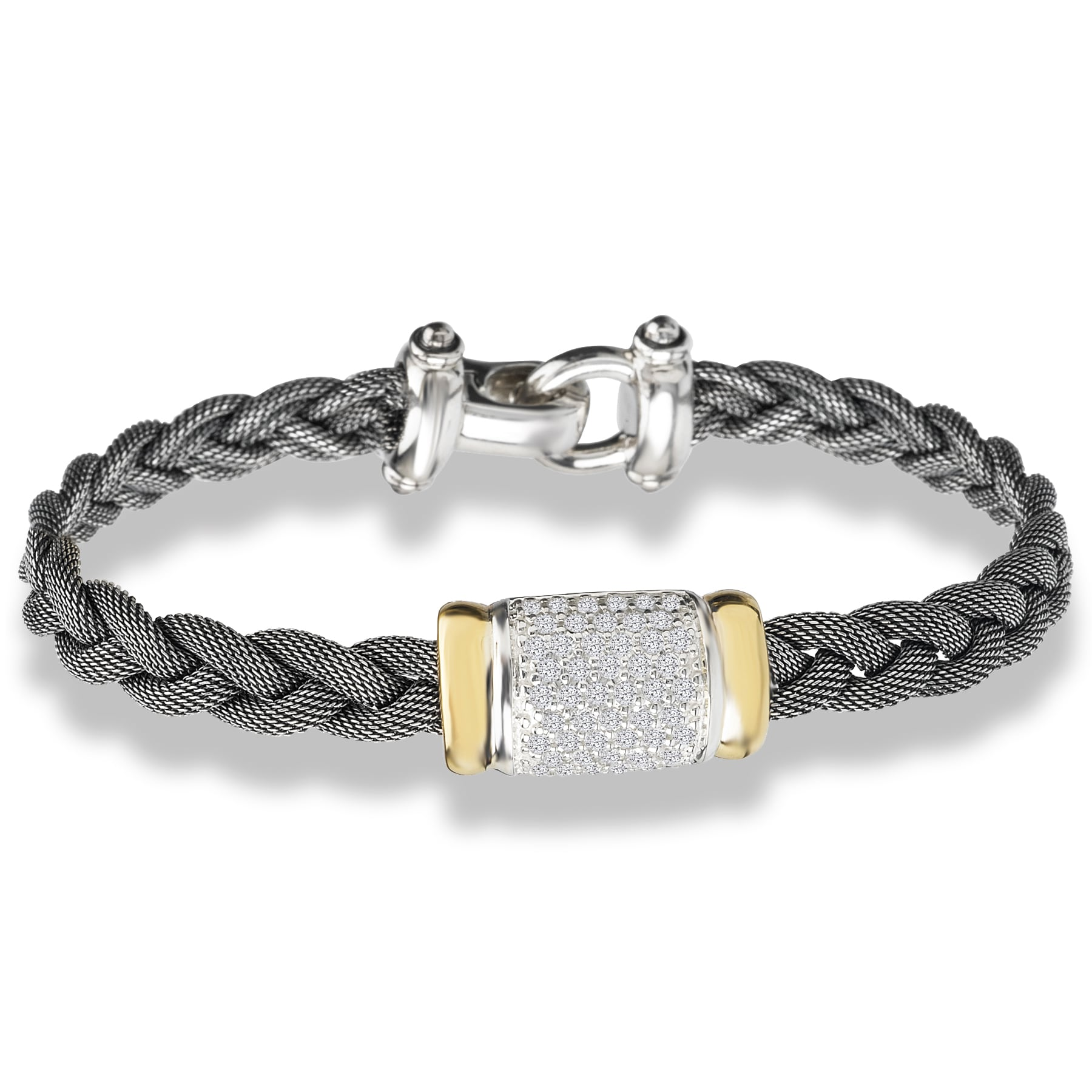 Avanti Palladium Silver 18k Yellow White Sapphire and Braided Mesh Bracelet