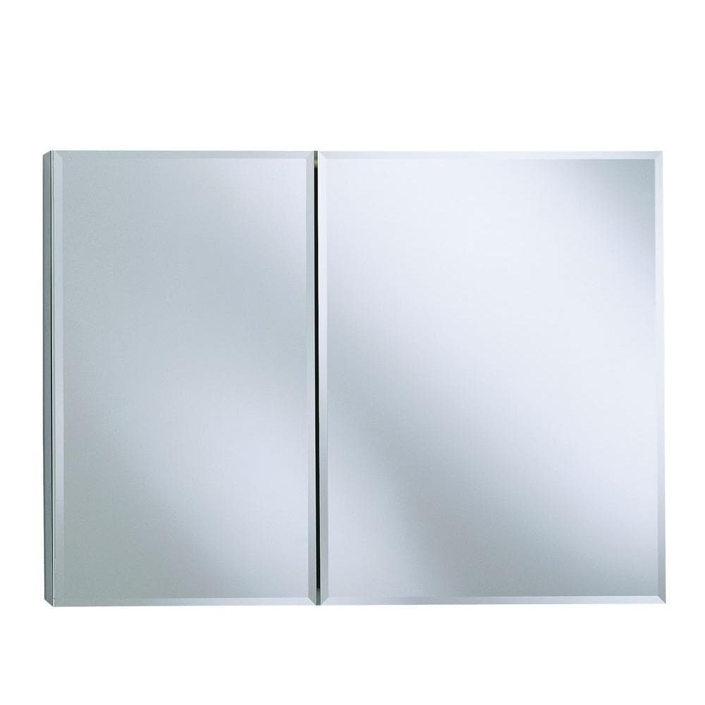 Kohler 35 inch W x 26 inch H Two-Door Recessed or Surface Mount Medicine Cabinet in Silver Aluminum
