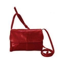 Women's David King Leather 3521 Florentine Flap Front Handbag Red