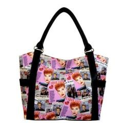 Women's I Love Lucy Signature Product I Love Lucy Collage Shopping Bag LU614 Black
