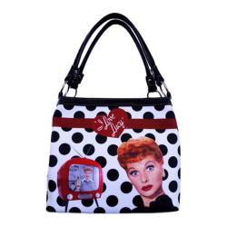 Women's I Love Lucy Signature Product I Love Lucy Polka Dot Medium Tote LU813 Black