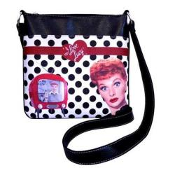 Women's I Love Lucy Signature Product I Love Lucy Polka Dot Messenger Bag LU811 Black