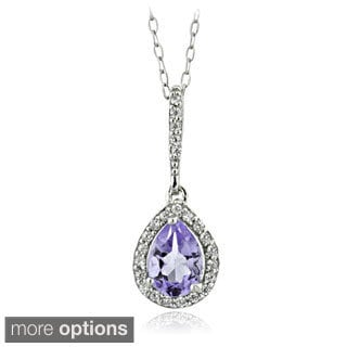 Glitzy Rocks Sterling Silver Gemstone and Cubic Zirconia Teardrop Necklace