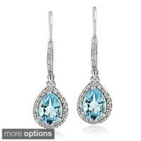 Glitzy Rocks Sterling Silver Gemstone and Cubic Zirconia Teardrop Earrings