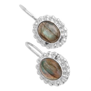 Handmade Sitara Silver-plated Labradorite Dangle Earrings (India)