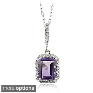 Glitzy Rocks Sterling Silver Gemstone and Cubic Zirconia Emerald-cut Necklace