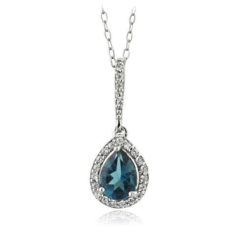 Glitzy Rocks Sterling Silver London Blue Topaz and Cubic Zirconia Teardrop Necklace