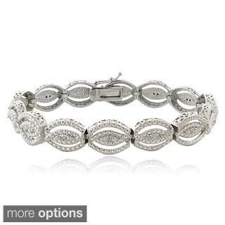 DB Designs Silvertone or Goldtone 1/4ct TDW Diamond Intertwining Infinity Bracelet