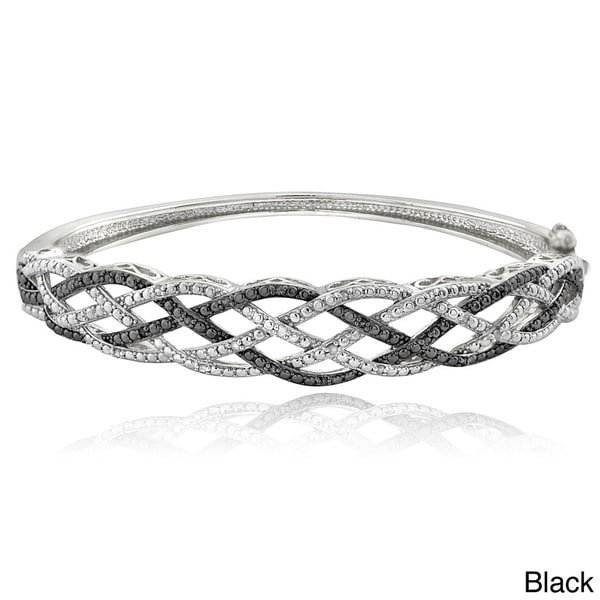 DB Designs Silvertone 1/4ct TDW White and Black or Blue Diamond Weave Bangle Bracelet