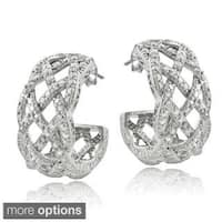 DB Designs Silvertone or Goldtone 1/4ct TDW Diamond Weave Half Hoop Earrings