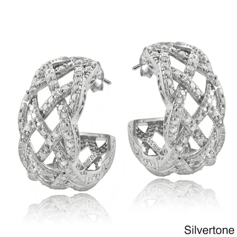 DB Designs Silvertone or Goldtone 1/4ct TDW Diamond Weave Half Hoop Earrings
