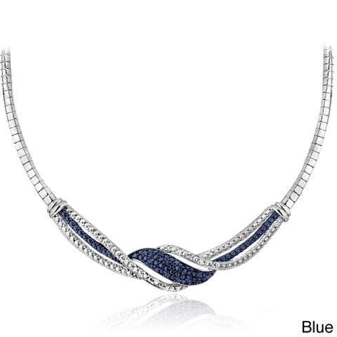 DB Designs Silvertone 1/4ct TDW Black/ Blue and White Diamond Twist Frontal Necklace