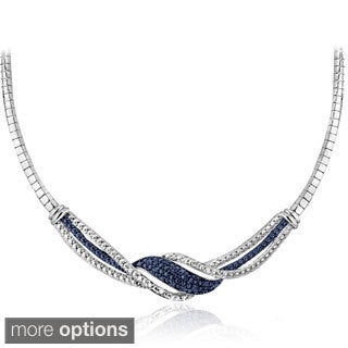 DB Designs Silvertone 1 4ct TDW Black Blue And White Diamond Twist Frontal Necklace