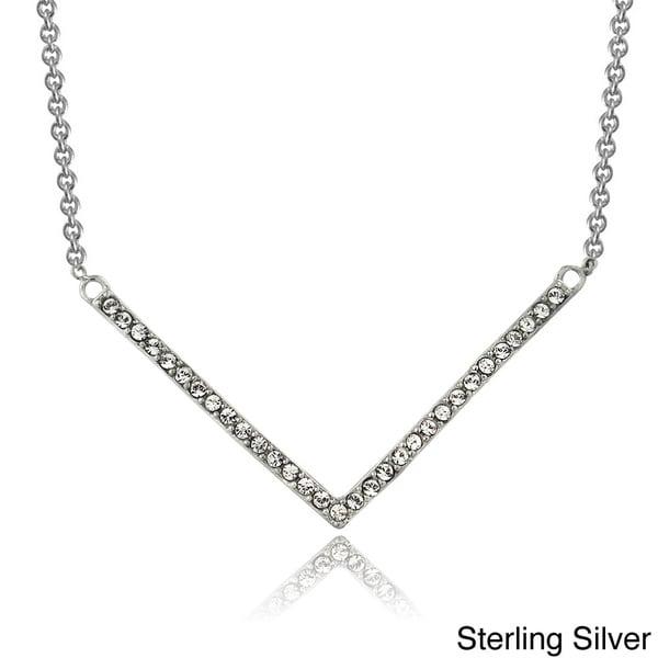Icz Stonez Sterling Silver Cubic Zirconia Chevron Bar Fashion Necklace