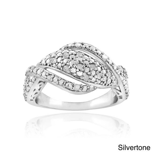 DB Designs Silvertone or Goldtone 1/4ct TDW Diamond Twist Ring