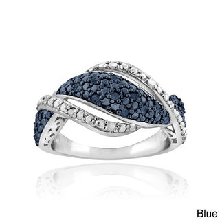DB Designs Silvertone 1/4ct TDW Black/ Blue and White Diamond Twist Ring