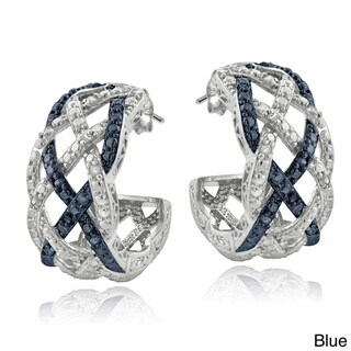 DB Designs Silvertone 1/4ct TDW Black or Blue and White Diamond Weave Half Hoop Earrings (I-J, I2-I3)
