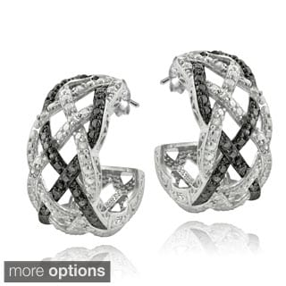 DB Designs Silvertone 1/4ct TDW Black or Blue and White Diamond Weave Half Hoop Earrings (I-J, I2-I3)