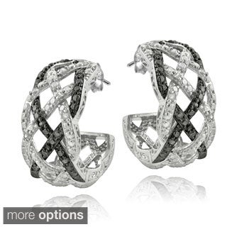 DB Designs Silvertone 1/4ct TDW Black or Blue and White Diamond Weave Half Hoop Earrings
