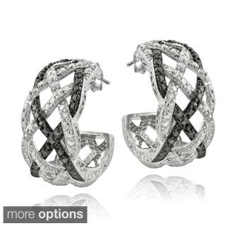 DB Designs Silvertone 1/4ct TDW Black or Blue and White Diamond Weave Half Hoop Earrings