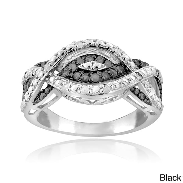 DB Designs Silvertone 1/4ct TDW Black or Blue and White Diamond Intertwining Infinity Ring (I-J, I2-I3)
