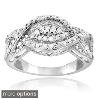 DB Designs Silvertone or Goldtone 1/4ct TDW Diamond Intertwining Infinity Ring