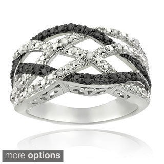 DB Design Silvertone 1/4ct TDW Black or Blue and White Diamond Weave Ring