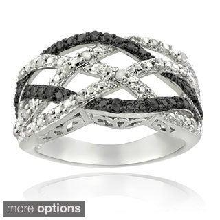 DB Design Silvertone 1/4ct TDW Black or Blue and White Diamond Weave Ring