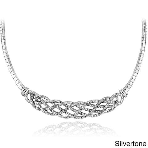 DB Designs Silvertone or Goldtone 1/4ct TDW Diamond Weave Frontal Necklace