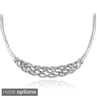 DB Designs Silvertone Or Goldtone 1 4ct TDW Diamond Weave Frontal Necklace