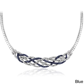 DB Designs Silvertone 1/4ct TDW Black or Blue and White Diamond Weave Frontal Necklace (2 options available)