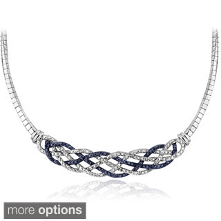 DB Designs Silvertone 1/4ct TDW Black or Blue and White Diamond Weave Frontal Necklace
