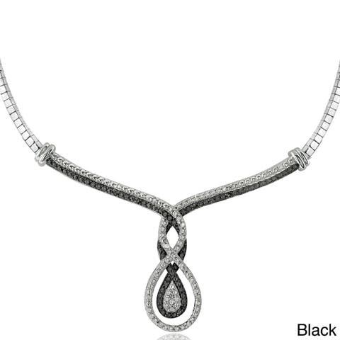 DB Designs Silvertone 1/4ct TDW Black or Blue and White Diamond Intertwining Infinity Frontal Necklace (I-J, I2-I3)