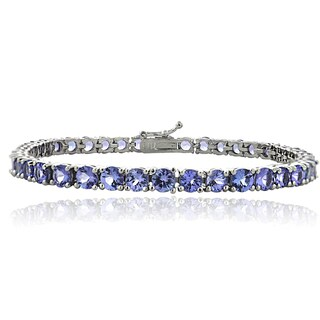 Glitzy Rocks Sterling Silver 11.25ct Tanzanite 4mm Round Tennis Bracelet