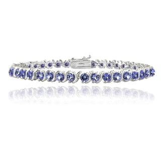 Glitzy Rocks Sterling Silver 5ct Tanzanite S Design Tennis Bracelet