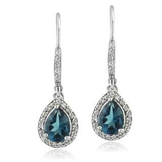 Glitzy Rocks Sterling Silver London Blue Topaz And Cubic Zirconia Teardrop Earrings
