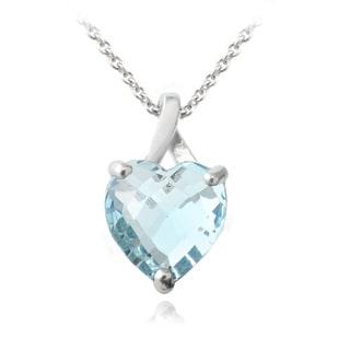 Glitzy Rocks Sterling Silver 4ct Blue Topaz Briolette-cut Heart Pendant