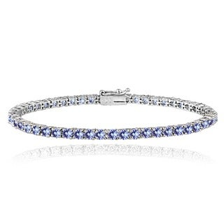 Glitzy Rocks Sterling Silver 6ct Tanzanite 3mm Round Tennis Bracelet