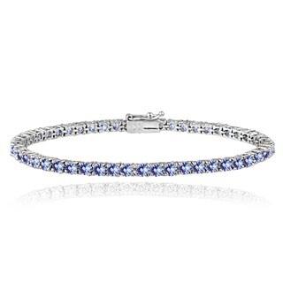 Glitzy Rocks Sterling Silver 6ct Tanzanite 3mm Round Tennis Bracelet