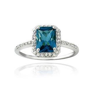 Glitzy Rocks Sterling Silver London Blue Topaz and Cubic Zirconia Emerald-cut Ring|https://ak1.ostkcdn.com/images/products/9102918/Glitzy-Rocks-Sterling-Silver-London-Blue-Topaz-and-Cubic-Zirconia-Emerald-cut-Ring-P16290141.jpg?impolicy=medium