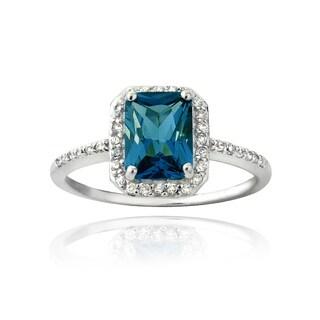 Glitzy Rocks Sterling Silver London Blue Topaz and Cubic Zirconia Emerald-cut Ring